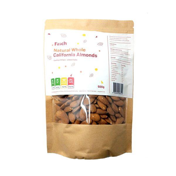 Natural Whole California Almonds 500g